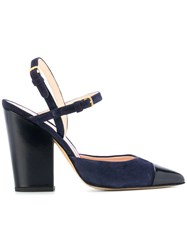 Thom Browne High Block D'orsay Slingback Heel In Leather Blue