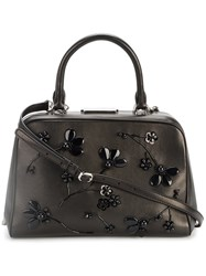 Simone Rocha Leather Tote With Beaded Floral Embellishment Women Leather One Size Black