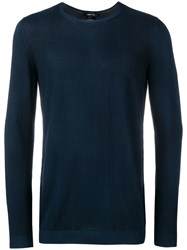 Avant Toi Long Sleeve Fitted Sweater Blue