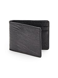 Saks Fifth Avenue Black Lizard Embossed Leather Billfold Wallet Black
