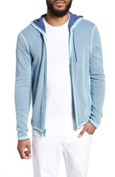 Zachary Prell Lemmon Cotton And Cashmere Zip Hoodie Aqua