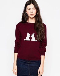 Le Mont St Michel Rabbit Sweater Burgundy