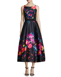 Milly Sleeveless Floral Print Tea Length Dress Black Multi