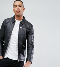 Selected Homme Tall Leather Jacket Black