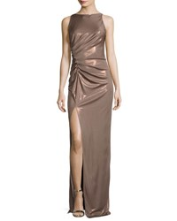 Halston Sleeveless High Neck Ruched Side Evening Gown Antique Gold