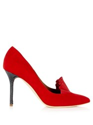 Adam By Adam Lippes X Malone Souliers Brenda Point Toe Suede Pumps Red