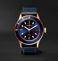 Maurice De Mauriac L2 42Mm Bronze And Leather Watch Blue