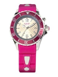 Kyboe Power Pink Silicone And Stainless Steel Strap Watch 40Mm