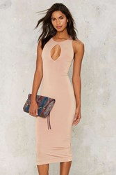 Nasty Gal Oval And Out Bodycon Dress Beige
