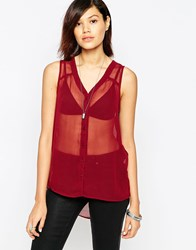 Only Sleeveless Sheer Top Brown