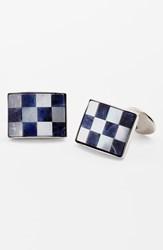 Men's David Donahue Checkerboard Cuff Links Silver Sodalite Pearl