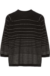 Raoul Striped Merino Wool Blend Sweater Black