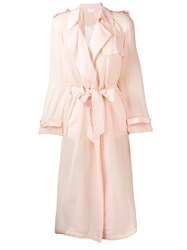 Genny Sheer Belted Trench Coat Nude And Neutrals