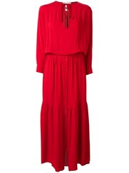 8Pm Tied Neck Long Dress Red