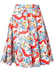 Mikio Sakabe Flower A Line Skirt Red
