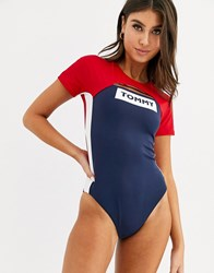 Tommy Hilfiger Cap Sleeve Logo Swimsuit In Navy And Red Multi