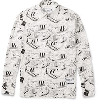 Prada Printed Cotton Poplin Shirt White