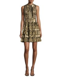Elie Saab Sleeveless Metallic Star Lace Ruffled Dress Gold