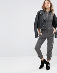 Honey Punch Military Jumpsuit With Front Pockets Khaki Green