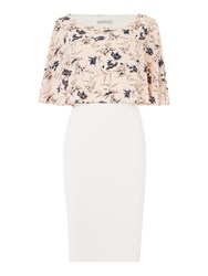 Shubette Shift Dress With Floral Cape Overlay Blush