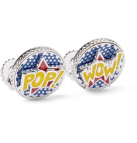 Tateossian Rotating Pop And Wow Rhodium Plated Enamel Cufflinks Blue