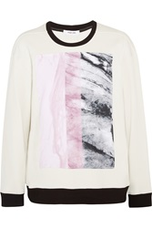 Helmut Lang Printed Cotton Jersey Sweatshirt White