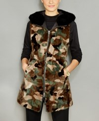 The Fur Vault Reversible Camo Mink Hooded Vest Camouflage