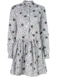 Opening Ceremony Floral Shirt Dress Women Cotton 4 White