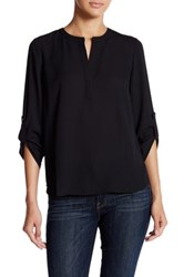Daniel Rainn Roll Sleeve Placket Blouse Petite Black