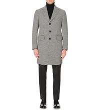 Tom Ford Houndstooth Wool Overcoat Off White