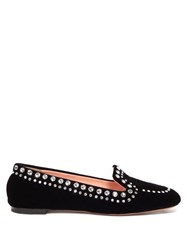 Rochas Crystal Embellished Velvet Loafers Black