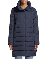 Eileen Fisher Quilted Stand Collar Cocoon Coat Midnight