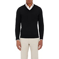 Fioroni Men's Cashmere V Neck Sweater Black Blue Black Blue