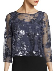 Marina Sequin Floral Crop Top Gunmetal