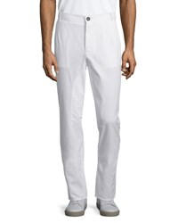 Brunello Cucinelli Flat Front Cotton Pants Off White