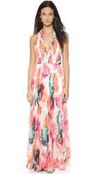 Alice Olivia Clare Halter Neck Pleated Maxi Dress Abstract Pigment