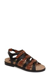 Women's Everybody 'Ideal' Strappy Flat Sandal Black Brown Leather