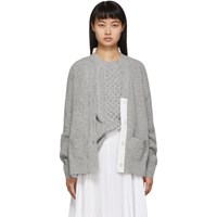 Sacai Grey And White Knit Wool Cardigan