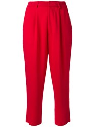 Aviu High Waisted Cropped Trousers Red