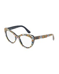 Dolce And Gabbana Floral Majolica Cat Eye Optical Frames Blue White