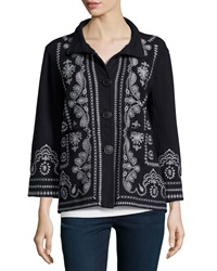 Johnny Was Everly Embroidered Pouch Pocket Pea Coat Women's
