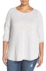 Plus Size Women's Eileen Fisher Stripe Ballet Neck Organic Linen And Cotton Tunic Silver