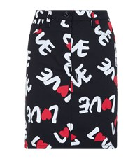 Love Moschino Logo Print Fitted Mini Skirt Female