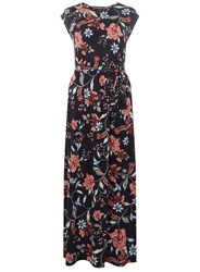 Dorothy Perkins Navy Floral Tassel Tie Maxi Dress Blue