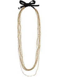 Maria Calderara Beads Layered Long Necklace Polyester Crystal Nude Neutrals