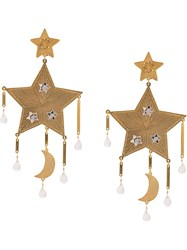 Mercedes Salazar Chandelier Star Earrings Gold