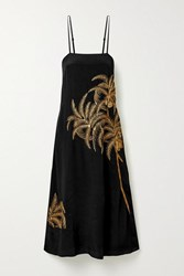 Figue Olatz Embellished Embroidered Crepe De Chine Midi Dress Black