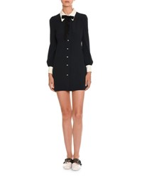 Miu Miu Long Sleeve Sable Shirtdress Navy Ivory