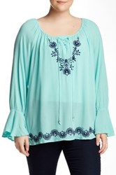 Halo Embroidered Blouse Plus Size Blue