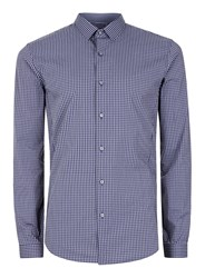 Topman Grey And Navy Gingham Stretch Skinny Fit Smart Shirt